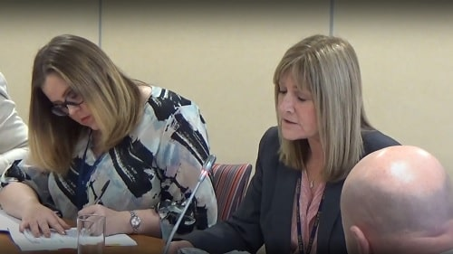 Janet Henshaw (centre, former Merseyside Fire and Rescue Authority Monitoring Officer) December 2016 talking to councillors about costs in EA/2016/0054 at a public meeting of the Merseyside Fire and Rescue Authority Policy and Resources Committee (15th December 2016)