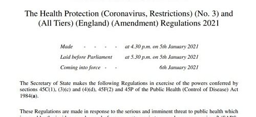 Health Protection (Coronavirus, Restrictions) No 3 and (All Tiers) (England) (Amendment) Regulations 2021