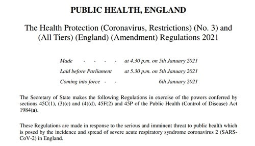 Health Protection (Coronavirus, Restrictions) No 3 and (All Tiers) (England) (Amendment) Regulations 2021 - public health regulations connected to the coronavirus pandemic