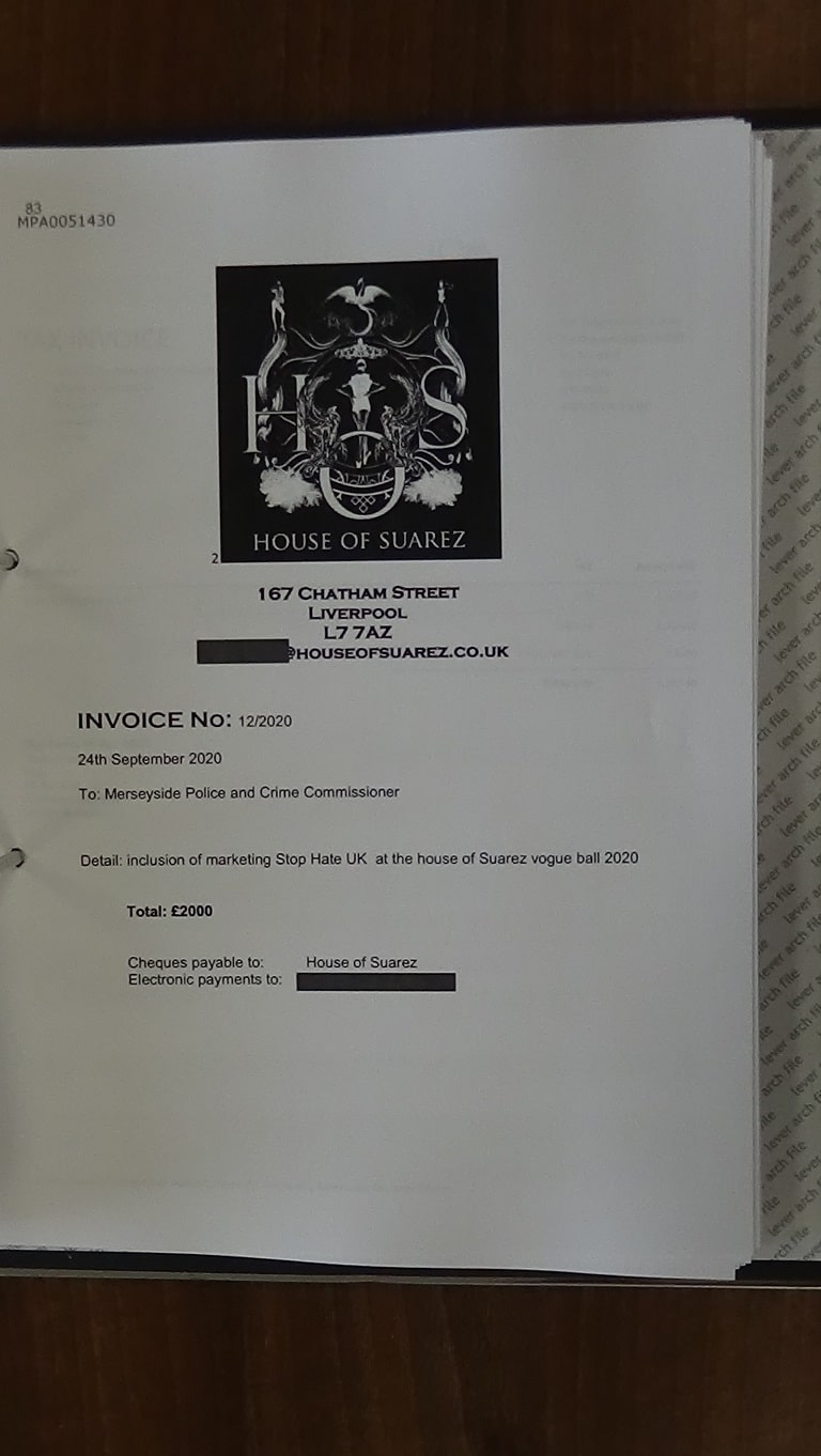 83 House of Suarez invoice to Office of the Police and Crime Commissioner for Merseyside